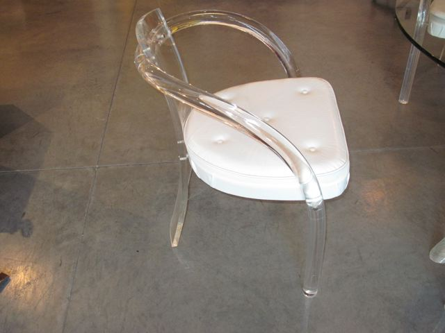 Simple Lucite U Glass Table U Four Lucite Chairs With Lucite Chair